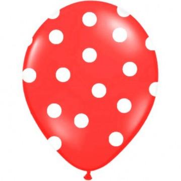 6 stk Røde balloner med hvide prikker