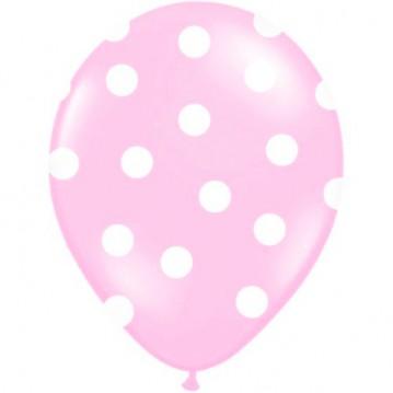 6 stk Lyserød balloner med hvide prikker