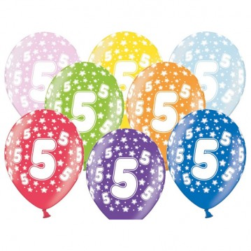 6 stk. 5 års fødselsdag mix metallice balloner