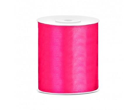 Satinbånd 100mm x 25m Mørk Pink - Glat silkelook