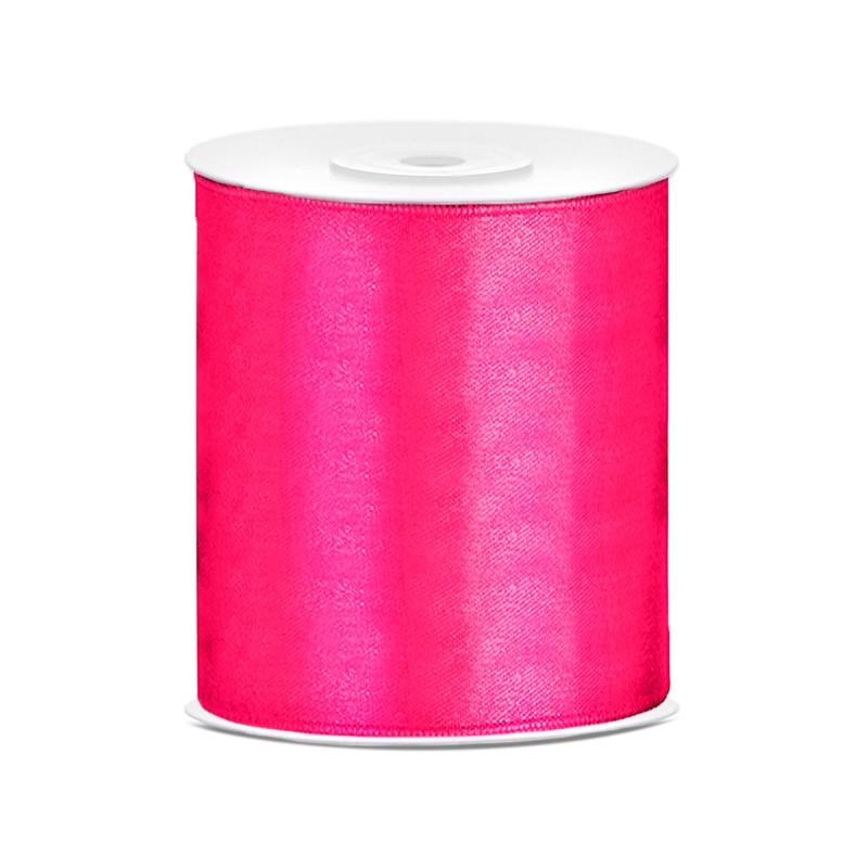 Billede af Satinbånd 100mm x 25m Mørk Pink - Glat silkelook