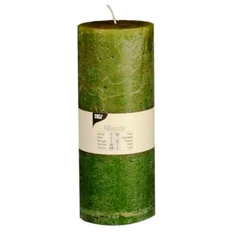 """Mørkegrøn """"Rustik"""" Lys  7 cm x 19 cm - 95 timer"""