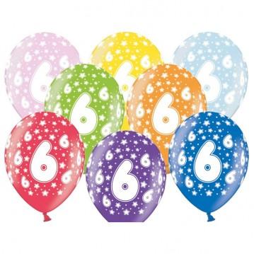 6 stk. 6 års fødselsdag mix metallice balloner