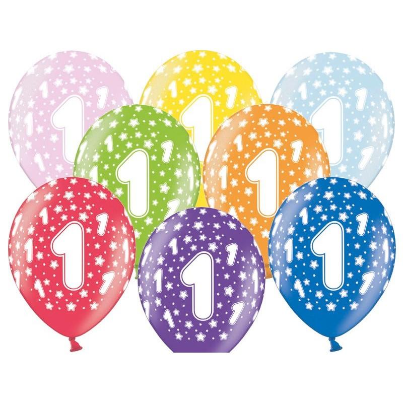 6 stk. 1 års fødselsdag mix metallice balloner