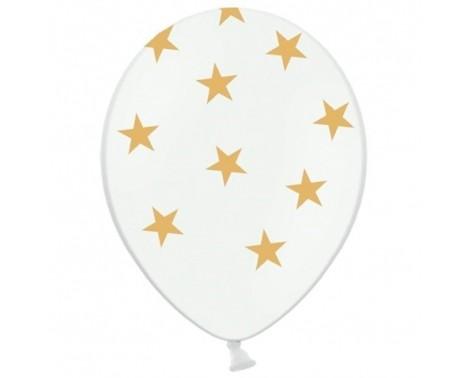 6 stk Hvide balloner med guld stjerner