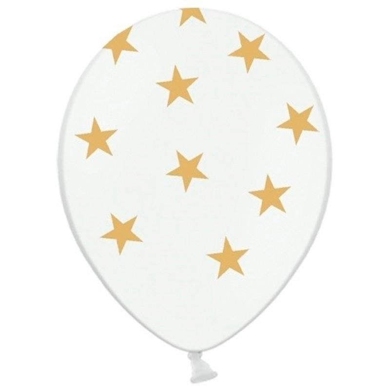 Billede af 6 stk Hvide balloner med guld stjerner