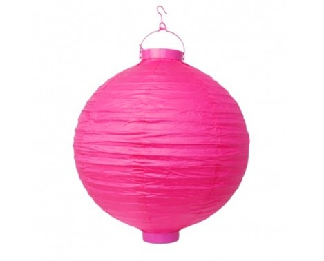 Rispapirlampe med LED lys Hot Pink 20 cm