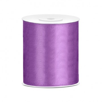 Satinbånd 100mm x 25m Lavendel - Glat silkelook