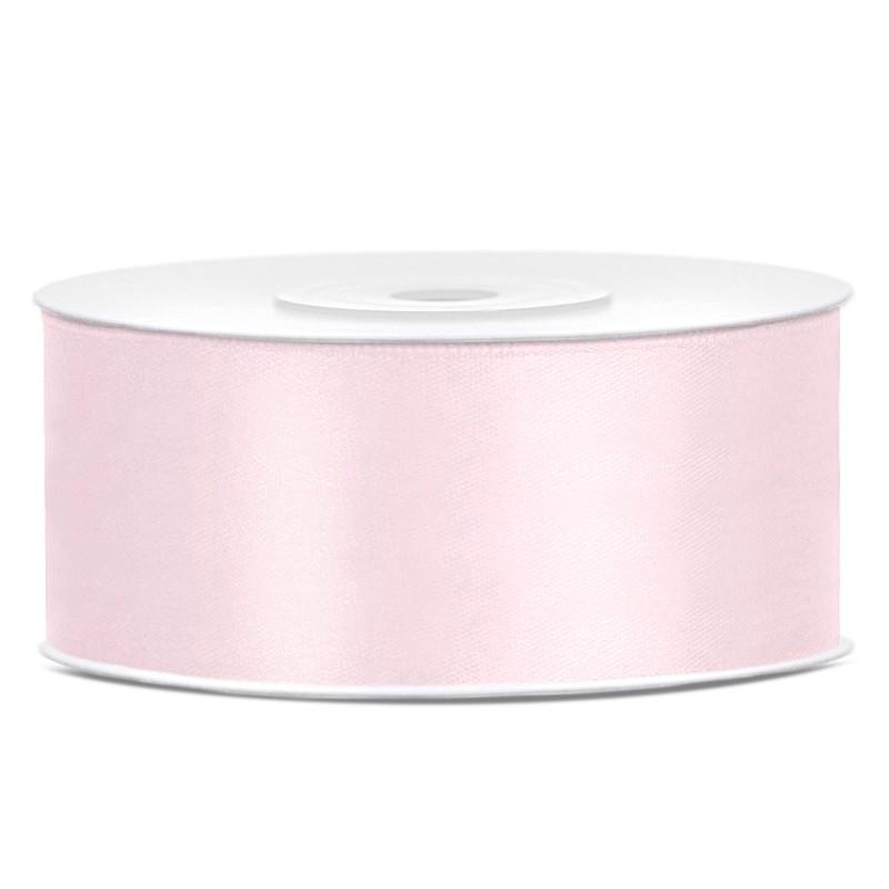 Satinbånd 25mm x 25m Lys Rosa - Glat silkelook
