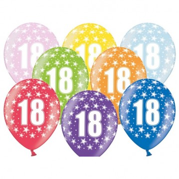 6 stk. 18 års fødselsdag mix metallice balloner