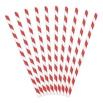 Papirsugerør 10 stk Twiste rød - hvid