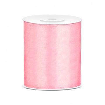 Satinbånd 100mm x 25m Lys Pink - Glat silkelook