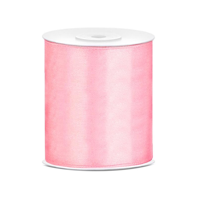 Billede af Satinbånd 100mm x 25m Lys Pink - Glat silkelook