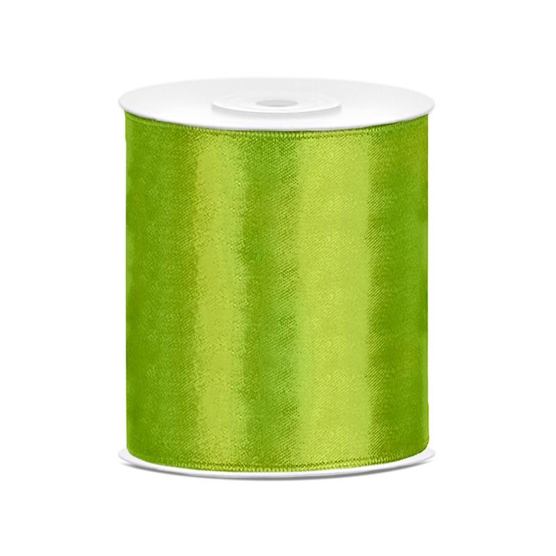 Billede af Satinbånd 100mm x 25m Limegrøn - Glat silkelook