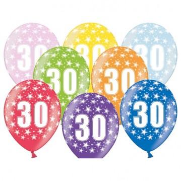 6 stk. 30 års fødselsdag mix metallice balloner