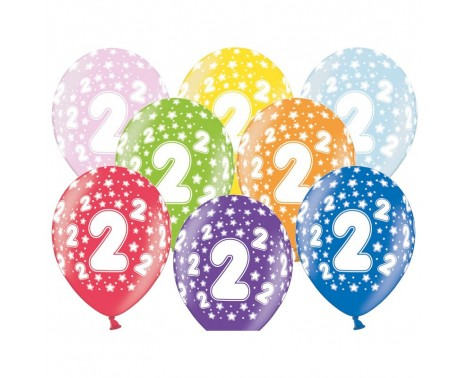 6 stk. 2 års fødselsdag mix metallice balloner