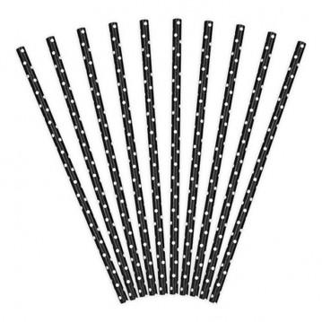 Papirsugerør 10 stk Dots sort - hvid