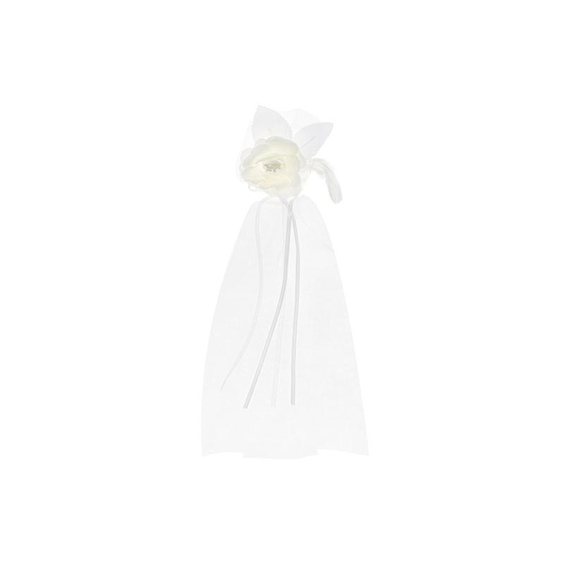 2 stk Hvide Roser m. små perler dekoration til bilhåndtag