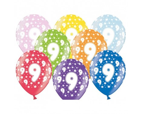 6 stk. 9 års fødselsdag mix metallice balloner