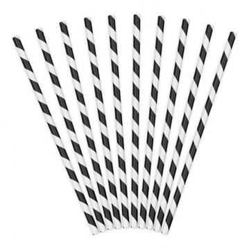 Papirsugerør 10 stk Twiste sort - hvid