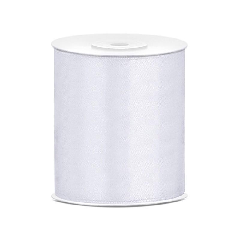 Billede af Satinbånd 100mm x 25m Hvid - Glat silkelook