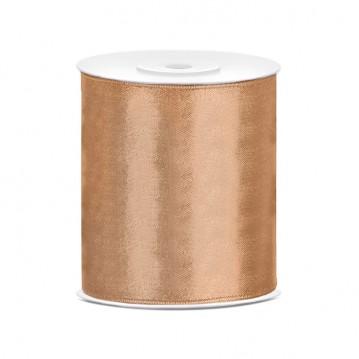 Satinbånd 100mm x 25m Guld - Glat silkelook