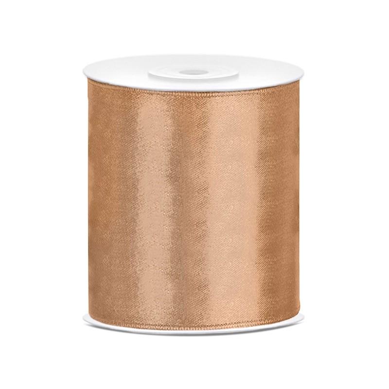 Billede af Satinbånd 100mm x 25m Guld - Glat silkelook