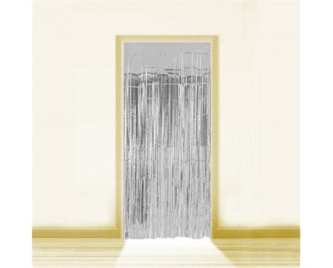 Sølv Lametta - Dørforhæng - 0,9 x 2,5 meter