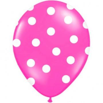 6 stk Hot pink balloner med hvide prikker