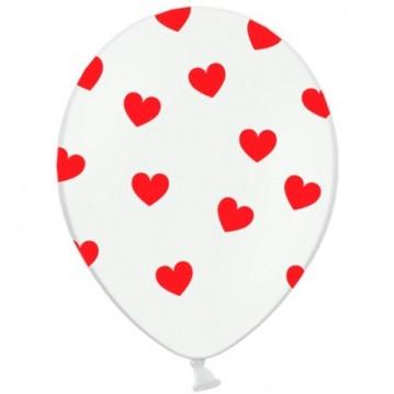 6 stk Hvide balloner med røde hjerter