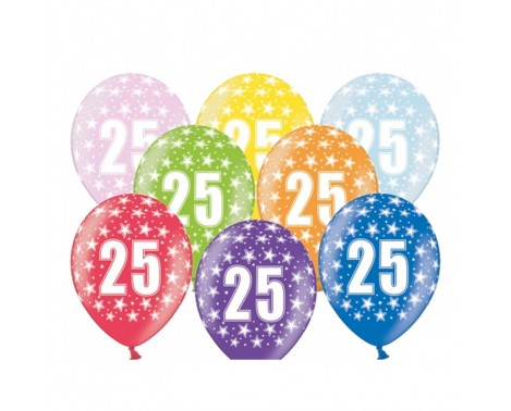 6 stk. 25 års fødselsdag balloner - Mix farver