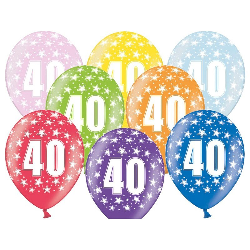 6 stk. 40 års fødselsdag mix metallice balloner