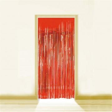 Rød Lametta - Dørforhæng - 0,9 x 2,5 meter