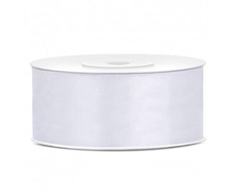 Satinbånd 25mm x 25m Hvid - Glat silkelook