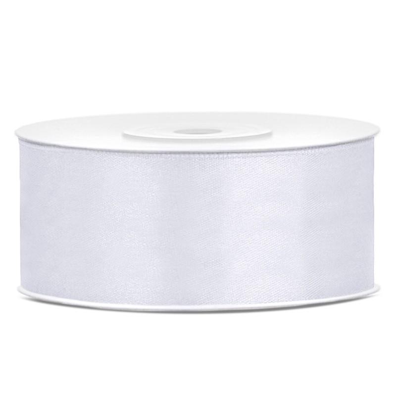 Billede af Satinbånd 25mm x 25m Hvid - Glat silkelook
