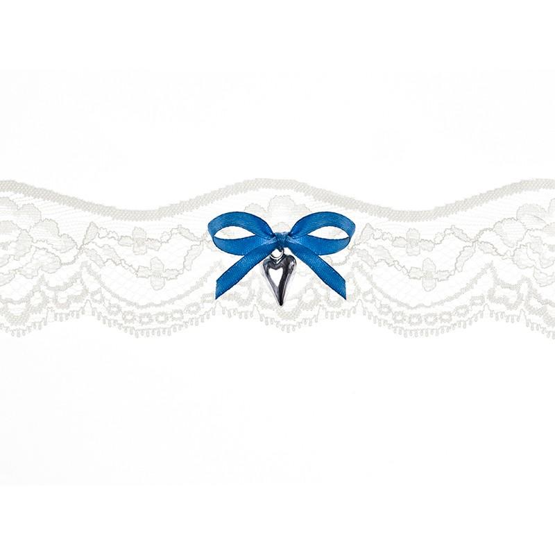 Strømpebånd - Blå sløjfe og sølv hjerte