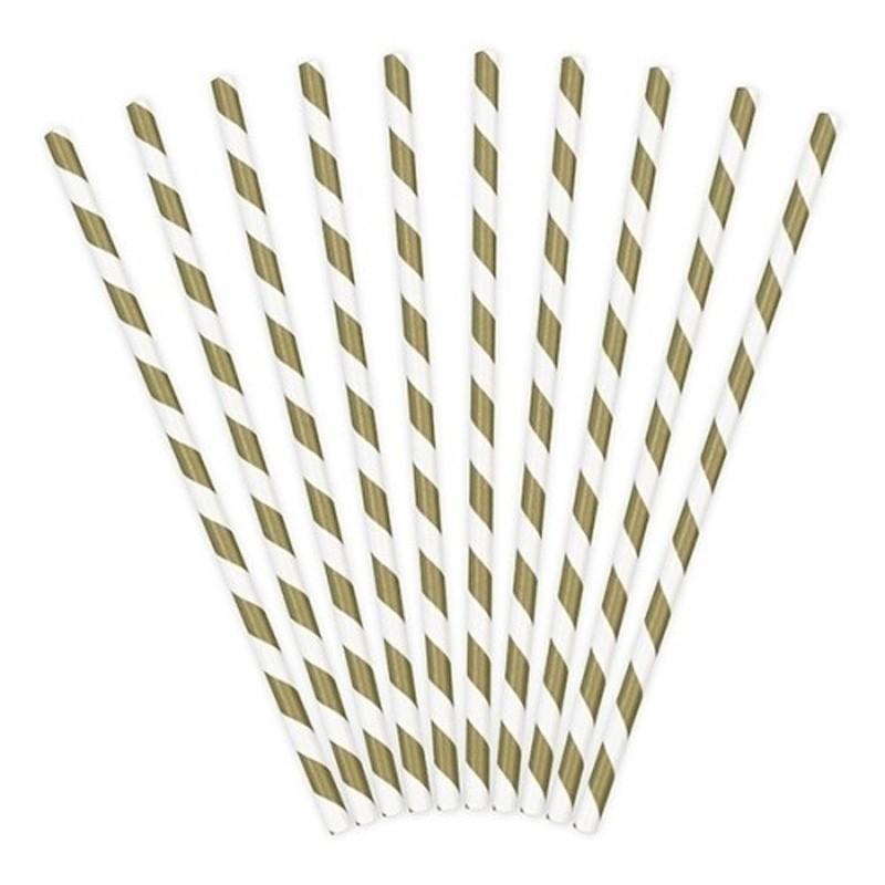 Papirsugerør 10 stk Twiste guld - hvid