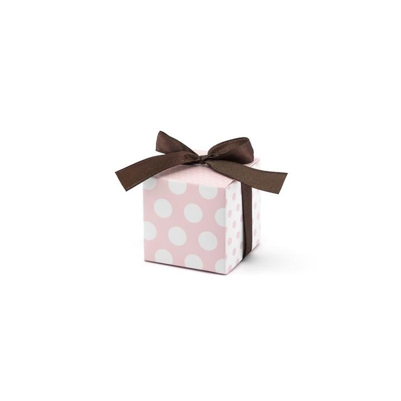 10 Stk Gaveæsker i støvet rosa med brunt bånd