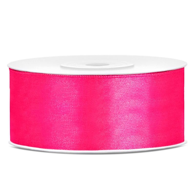 Satinbånd 25mm x 25m Mørk Pink - Glat silkelook