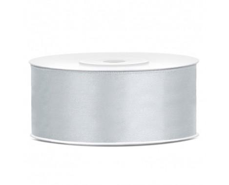 Satinbånd 25mm x 25m Sølv - Glat silkelook