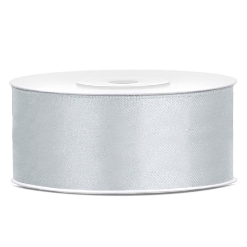 Billede af Satinbånd 25mm x 25m Sølv - Glat silkelook