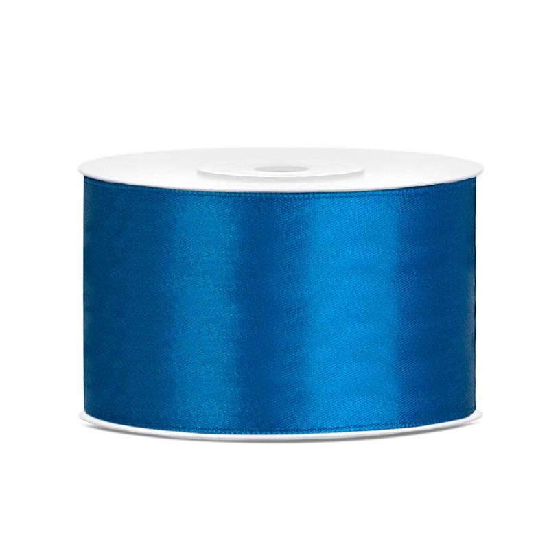 Billede af Satinbånd 38mm x 25m Blå - Glat silkelook