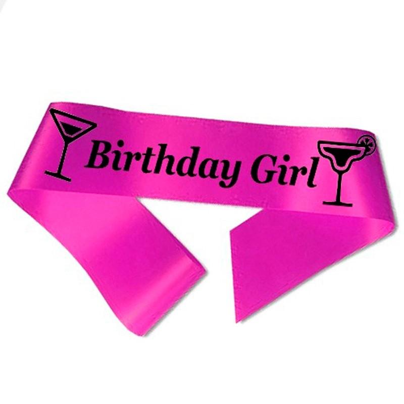 Image of   Birthday Girl ordensbånd i fuchsia