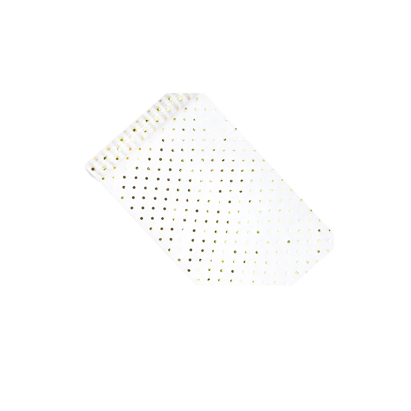Hvid organza med Guld prikker 0,36 x 9 meter