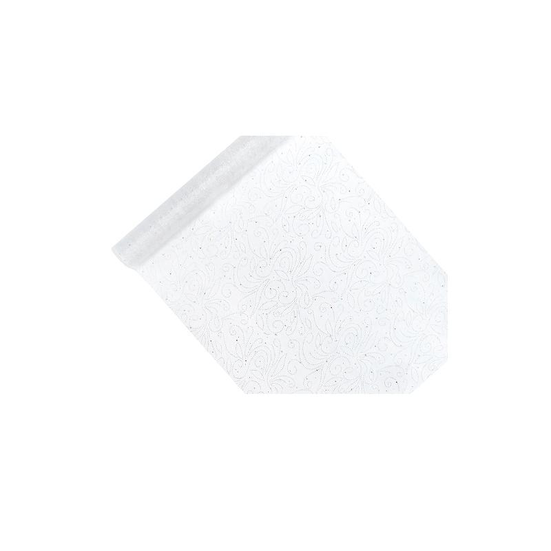 Hvid organza -  Perler og glimmer mønster 0,48 x 9 meter
