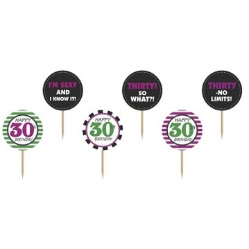 Cupcake skilte 30 år 6 stk
