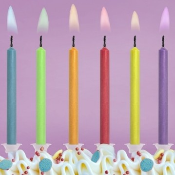 Fødselsdagslys med farvede flammer 6 stk