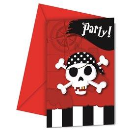 6 stk.  Piraterne vender tilbage - Invitationskort m/kuverter
