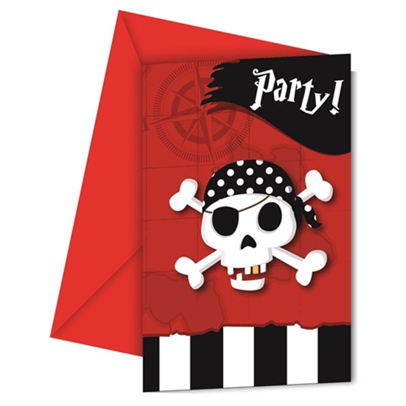 Billede af 6 stk. Piraterne vender tilbage - Invitationskort m/kuverter