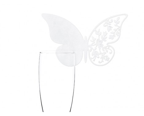 10 stk. Hvide sommerfugl bordkort med blomster mønster.